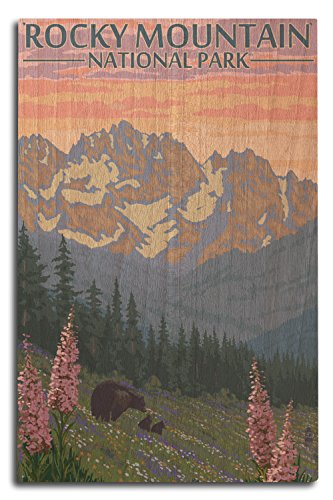 Rocky Mountain National Park, Colorado - Bear and Cubs with Flowers (10x15 Wood Wall Sign, Wall Decor Ready to Hang)