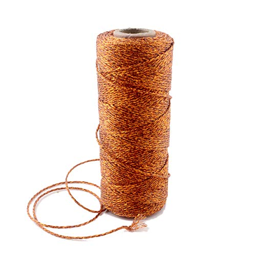 Ipalmay 100m Metallic Rose Gold Bakers Twine Spool 3-Ply for DIY Crafts Arts or Gift -