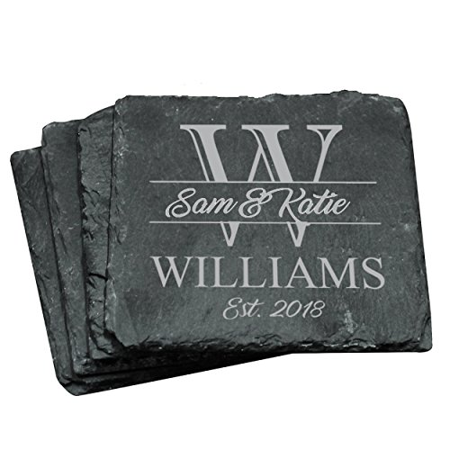Custom Engraved Slate Coasters - Monogrammed Coaster Set for Drinks, Weddings, Couples, Anniversaries, Gifts - Personalized for Free (Square - Engraved Slate