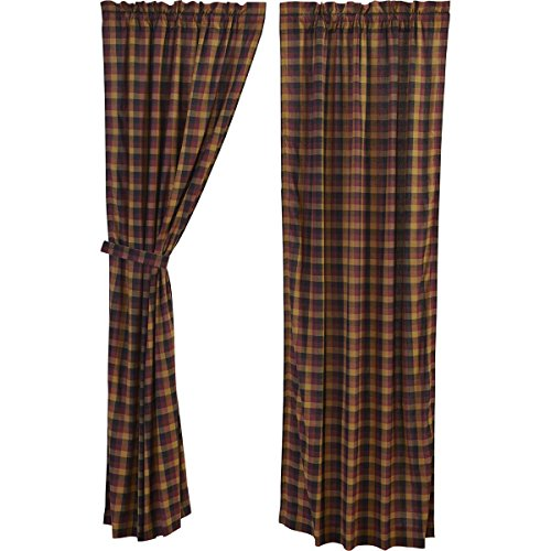 VHC Brands Primitive Window Heritage Farms Red Curtain Panel Pair, Deep -