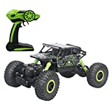 Hugine 2.4Ghz 1/18 Scale Rechargeable RC Car Remote Control Rock Crawler Vehicle Toy 4 WD Fast Race Monster Off-Road Truck (Green)