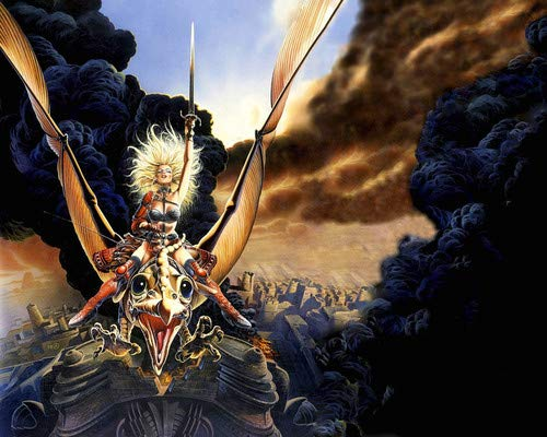 Heavy Metal animation 1981 Blonde Warrior on dragon with sword 11x14 HD Aluminum Wall Art