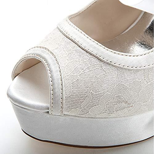 Plate Peep Hauts Toe Bandage Banquet Dentelle Satin Talon Femmes De Dames Mariage Talons forme Hlg White À Chaussures qYEx8zn