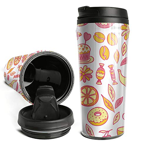 Cute Travel Mugs Tea Time With Donut Coffee Mug Leakproof Travel Sports Bottle Cups For Office Use -
