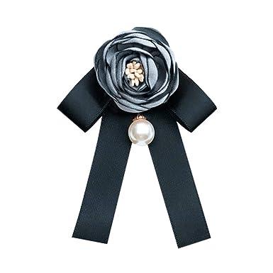 Wicemoon Gris Broche Con Lazo de Flores Para Mujer Camisa Con ...