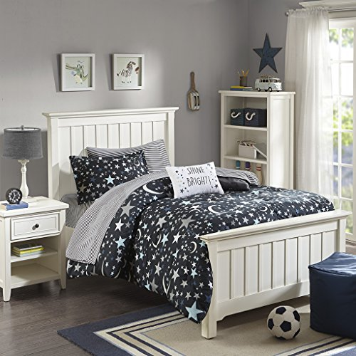 JLA Home INC Mi Zone Kids Starry Night Twin Comforter Sets For Girls - Black, Stars  6 Pieces Kids Girl Bedding Set  Ultra Soft Microfiber Childrens Bedroom Bed Comforters