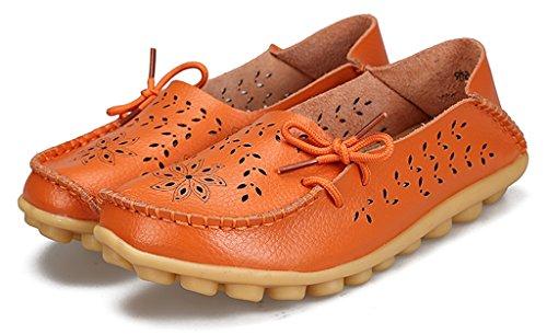 Labato Stil Labatostyle Kvinnors Läder Casual Loafers Körsko Lägenheter Slip-on Toffel Skor Orange-02