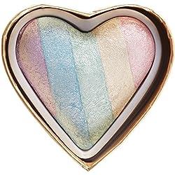 MAKEUP REVOLUTION Unicorn Heart Blushing Hearts Triple Baked Rainbow Highlighter