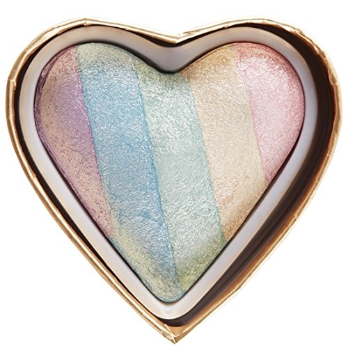 MAKEUP REVOLUTION Unicorn Heart Blushing Hearts Triple Baked Rainbow Highlighter (Highlighter Rainbow)