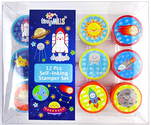 TINYMILLS 12 Pcs Outer Space Stamp Kit for Kids -