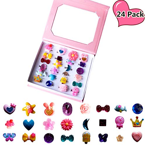 SWARKOL 24pcs Children Kids Little Girl Adjustable Jewelry Rings in Box, Girl Pretend Play and Dress Up Rings, Little Girls Gift