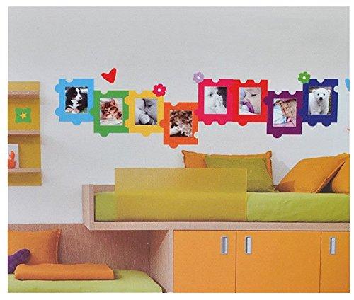 XL Wandsticker / Sticker - Fotorahmen als Puzzle für Foto´s - Herzen Blumen für Bilder - Wandsticker Aufkleber Bilderpuzzle Bilderrahmen selbstklebend Foto
