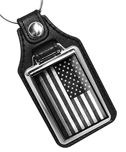 Brotherhood Distressed Subdued Black and White American Flag Faux Leather Key Ring