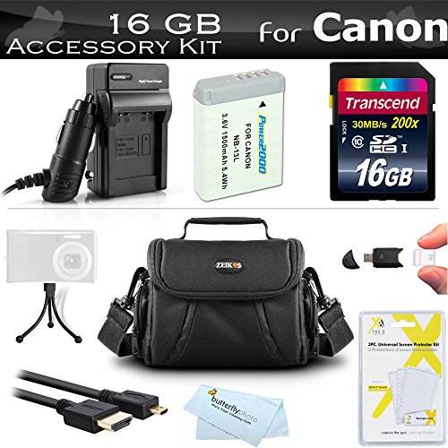 16GB Accessories Kit for Canon PowerShot SX720 HS, Canon G7 X Mark II, G7 X, G9 X, G5 X Digital Camera Includes 16GB High Speed SD Memory Card + Replacement NB-13L Battery + AC/DC Charger + Case +++ -  ButterflyPhoto, AMAZ24203
