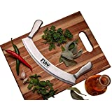 "Mezzaluna Knife Pizza Rocker Blade and salad chopper 12"" high carbon german blade Sharp Stainless Steel professional Slicer with rocker knife sheath"