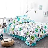 Bedding for Kids Cartoon Pattern Bedding Set Love bird Bed Sheet Cute Duvet Cover Set Flowers Duvet Cover Suitable for Spring,Not Comforter,Queen Size (#3)