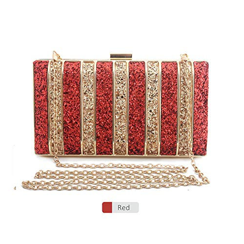 Panelled Sequin Clutch Purse Rhinestones Evening Bag for Women Bridesmaid Chain Bags,Red