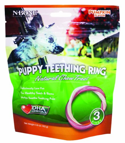 N-Bone 3-Pack Puppy Teething Ring, Pumpkin Flavor, My Pet Supplies