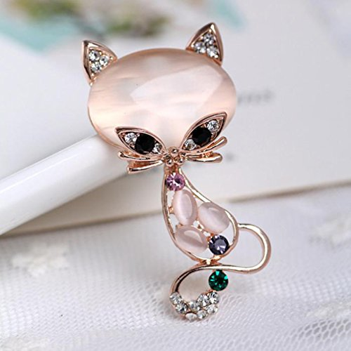 Cat Brooch - GUAngqi Vintage Pink Cat Brooch Pin Corsage Antique Imitation Opals Animal Brooches For Women Small Pin