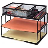 Besource Mesh Desk Organizer with Compartment, 2 Tier Office Desktop File Organizer Stackable Document Letter Tray Paper Organizer Rack, Black