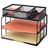 8 tier file tray - Besource Mesh Desk Organizer with Compartment, 2 Tier Office Desktop File Organizer Stackable Document Letter Tray Paper Organizer Rack, Black