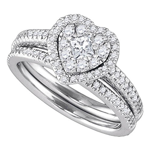 (14k White Gold Round Princess Diamond Heart-shaped Womens Halo Wedding Bridal Ring Set 3/4 Cttw)