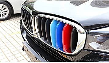 for BMW X5 2008-2013 X6 2008-2011 M-Colored Front Grille Insert Trims Grill Stripes Stickers Center Kidney Grill Cover Performance Stickers 3Pcs 7 Grille
