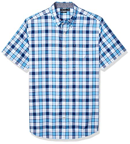 Nautica Men's Big and Tall Classic Fit Short Sleeve Stretch Plaid Button Down Shirt, Azure Blue, 6X
