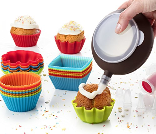 Kid Baking Set 24 Baking Muffin Molds Silicone Cupcake Liners + Corer Plunger + Cake Decorating Kit Bag Pen + 5 Icing Tips by Maxi Nature -