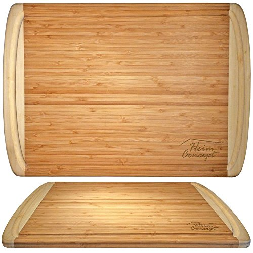 Organic Bamboo [ HEIM CONCEPT ] Cutting Board and Serving Tray with Drip Groove Extra Large [ 18 x 12 inches - 1'' inch Thick ] Eco-Friendly Thick Strong Premium Bamboo Kitchenware by Heim Concept (Image #2)