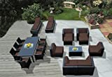 Ohana 20-Piece Outdoor Wicker Patio Furniture Sectional, Dining and Chaise Lounge Set with Weather Resistant Cushions, Brown  (PNC2005ABRN)