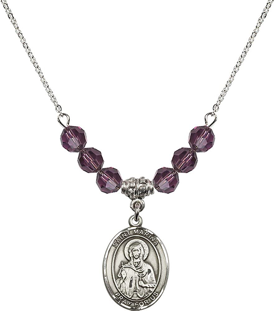 18-Inch Rhodium Plated Necklace with 6mm Amethyst Birthstone Beads and Sterling Silver Saint Marina Charm.