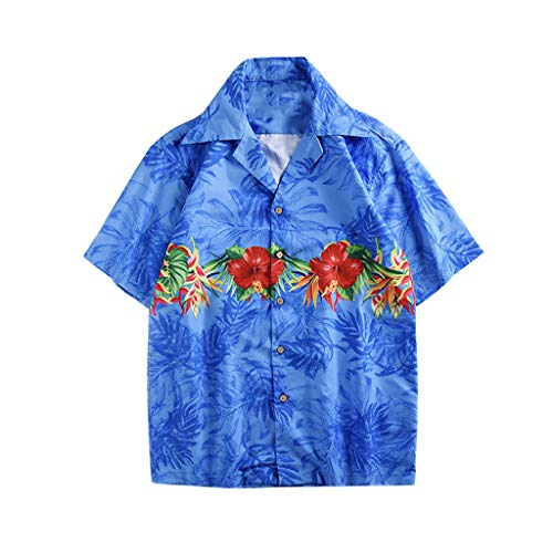 (Hawaiian Shirt, MmNote Men's Retro Cloud Crane Print Loose Premium Simple Classic Casual Breathable Summer Short Sleeve Blue)