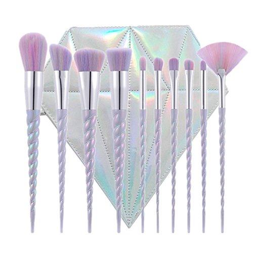 10pcs Unicorn Makeup Brushes Set Professional Foundation Face Powder Cream Liquid For Eyeshadow Contour Highlight Lip Make up Brush Kits (With Bag)