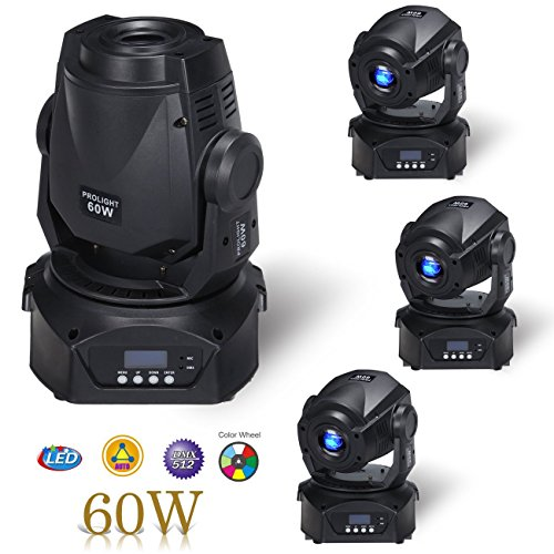 MountainNet 60W LED Moving Head Stage Light 8 Gobo Rainbow 8 Colors 12CH Dmx512 LED Stage Gobo Pattern Lamp w/3 Prism Stage Lighting for Disco KTV Club Wedding Christmas Party