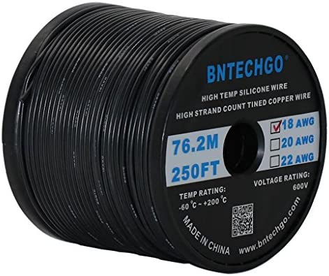 BNTECHGO 10 Gauge Silicone Wire Ultra Flexible 20 feet high temp 200 deg C 600V 10 AWG Silicone Wire 1050 Strands of Tinned Copper Wire Stranded Wire Model Battery Cable Black and Red Each Color 10 ft