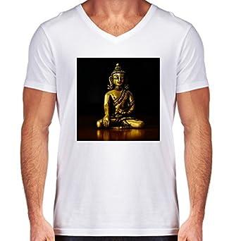 Camiseta Blanca Con V-Cuello para los hombres - Tamaño S ...