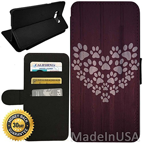 Paw Prints Wallet (Flip Wallet Case for Galaxy S8 (Paw Print Heart Design) with Adjustable Stand and 3 Card Holders   Shock Protection   Lightweight   by Innosub)
