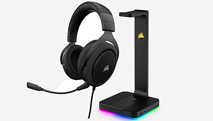 Corsair Hs50   Stereo Gaming Headset   Discord Certified Headphones   Works Pc, Mac, Xbox One, Ps4, Nintendo Switch, I Os Android – Carbon by Corsair