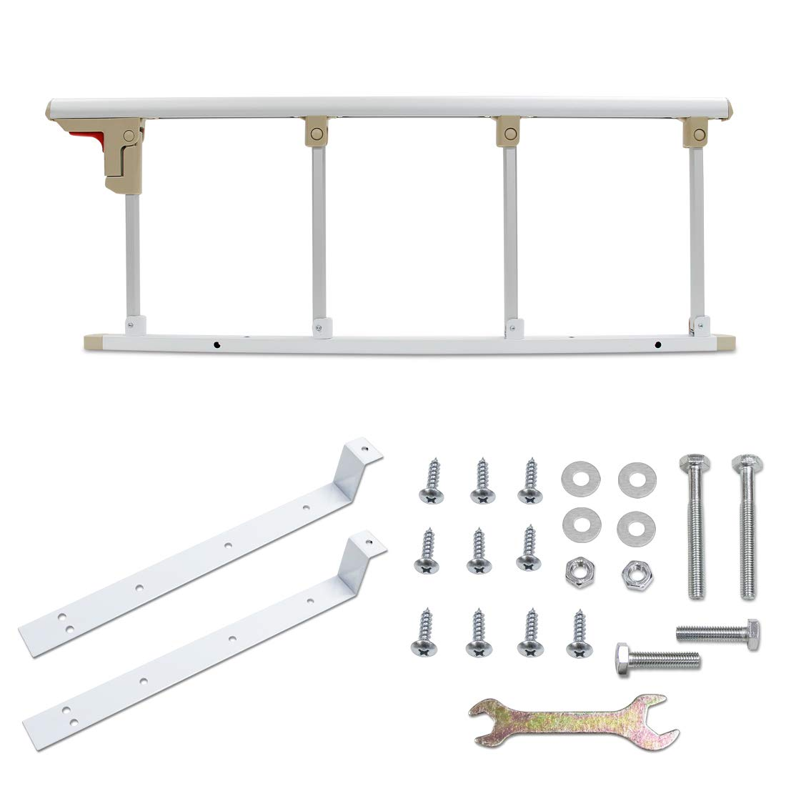 Signstek Bed Rail Safety Side Aluminium Alloy Bed Rails with One Key Folding for Kids Children Adults Toddler Assist Handle Handicap Bed Railing