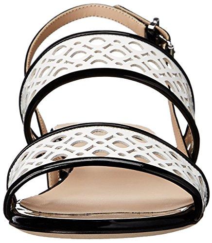 Aquatalia Kvinners Genevieve Patent Flat Sandal Svart / Hvit