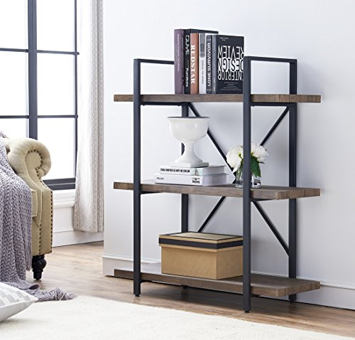 O&K Furniture 3-Shelf Industrial Bookcase and Book Shelves, Free Standing Storage Display Shelves, Brown by O&K Furniture (Image #9)