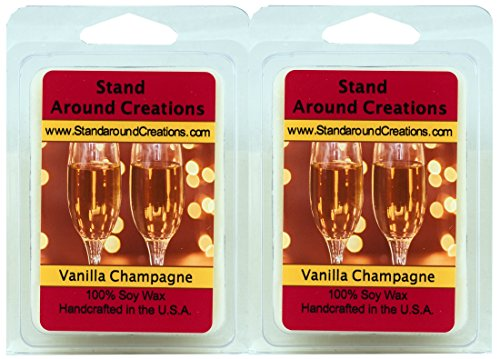 (Set of 2 - 100% All Natural Premium Soy Aromatherapy Wax Melt Tarts 3 oz/ea.- Vanilla Champagne - A sparkling accent creates a fizzy effect for the citrus top notes of lime and orange to open this blend. Hints of green floral and rum liquor notes from the fragrant heart. Clear woody tones combine with earthy accents while a base of vanilla bean surrounds the fragrance.Naturally Strong, Highly Scented.)
