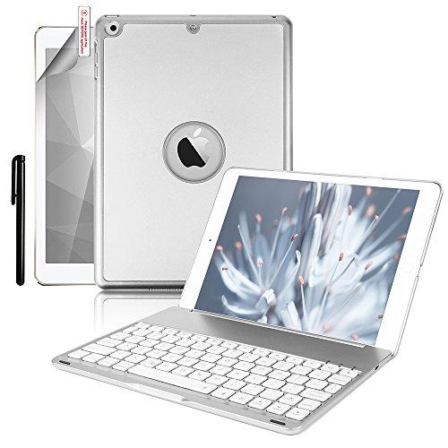 iPad 9.7/iPad Air Keyboard Case,Boriyuan Protective Folio Utra Slim Hard Shell Light Weight Stand Smart Cover with Backlit Bluetooth Keyboard and Auto Sleep/Wake for Apple iPad 9.7 2017 2018 Tablet
