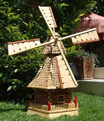 Gran molino de viento, molinos de viento jardín, con tejado de madera, sin PREMIUM-2X - iluminación solar-accesorios, caja de herramientas de metal WMS120ng-OS 1,20 m blanco grande: Amazon.es: Jardín