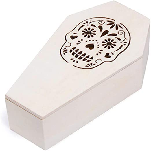 "Unfinished Wood Coffin Box Sugar Skull Design7/"" x 4/""Party FavorsMore!"