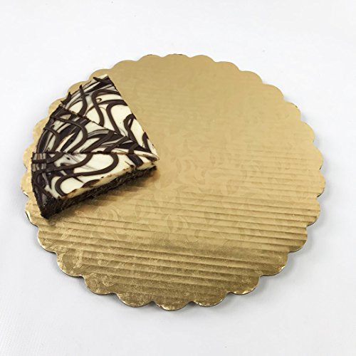 (Pack of 10) Black Cat Avenue 12 Inch Premium Metallic Gold Leaf Foil Cardboard Base Scalloped Circle Cake Boards by Black Cat Avenue