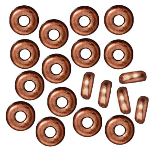 Copper Plated Lead-Free Pewter Disk Heishi Spacer Beads 4mm (50) (Plated Heishe Spacers)