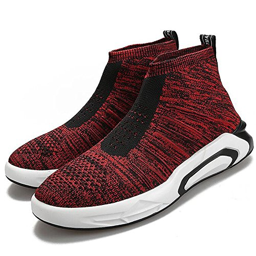 Men's Shoes Feifei Spring and Autumn Wear-Resistant Comfortable High-Top Socks Shoes 3 Colors (Size Multiple Choice) Red