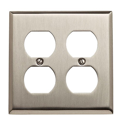 Double Duplex Solid Brass Switchplate - Baldwin 4771.150.CD Beveled Double Duplex Classic Square Design Switch Plate, Satin Nickel